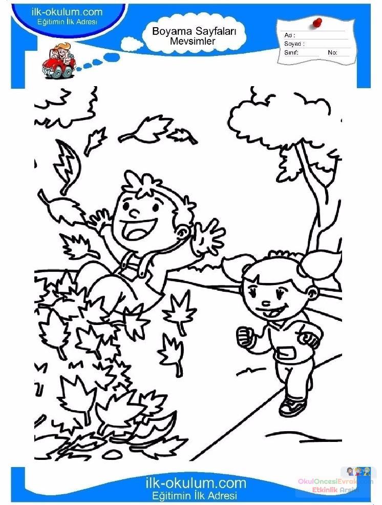 çocuklar Için Mevsimler Sonbahar Mevsimi Boyama Sayfası 9