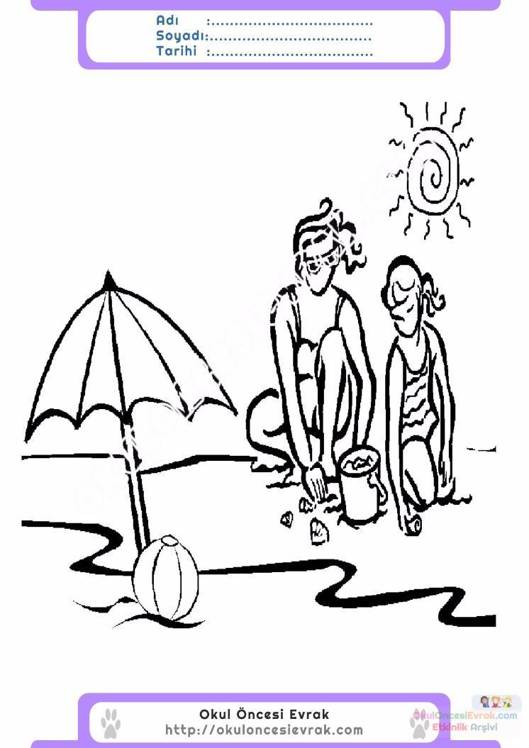 çocuklar Için Mevsimler Yaz Mevsimi Boyama Sayfası 12 Preschool