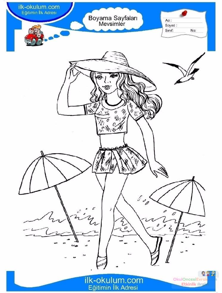 çocuklar Için Mevsimler Yaz Mevsimi Boyama Sayfası 13 Preschool