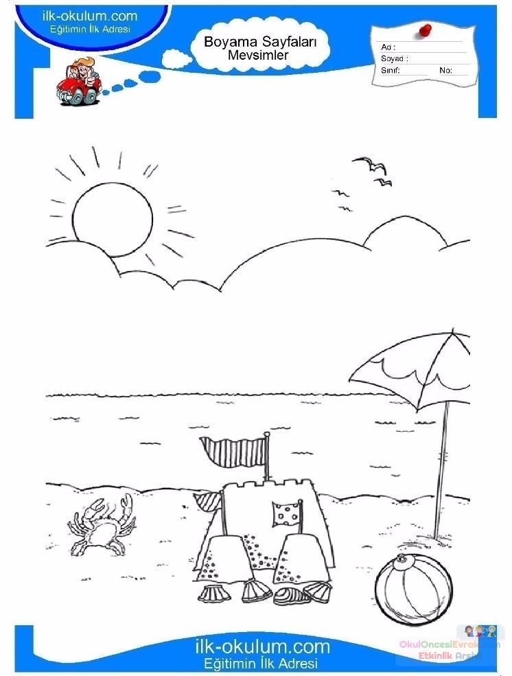 Cocuklar Icin Mevsimler Yaz Mevsimi Boyama Sayfasi 14 Preschool