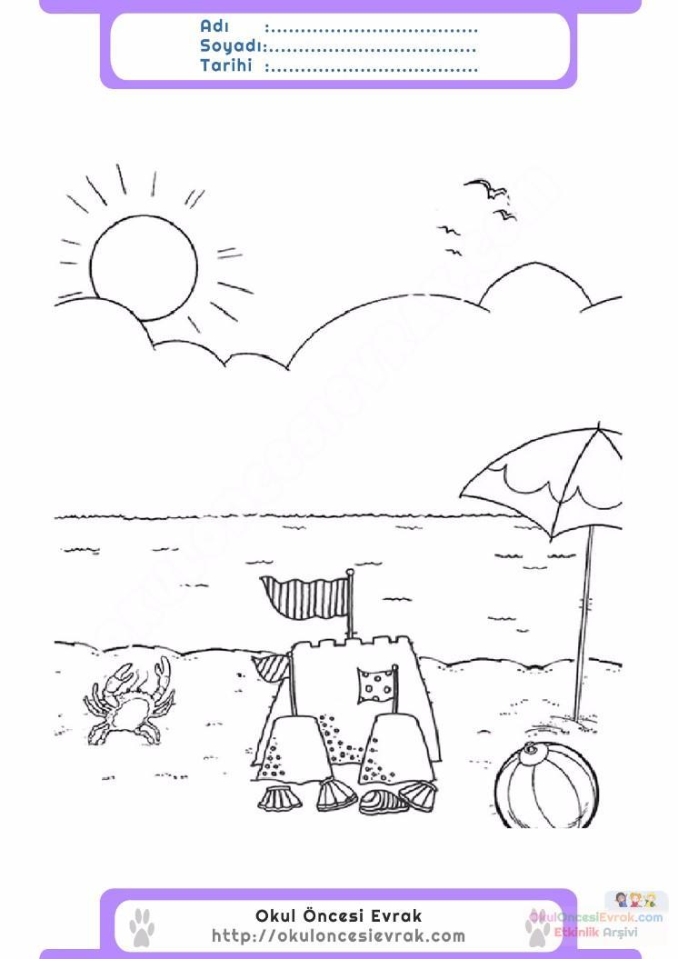 çocuklar Için Mevsimler Yaz Mevsimi Boyama Sayfası 14 Preschool