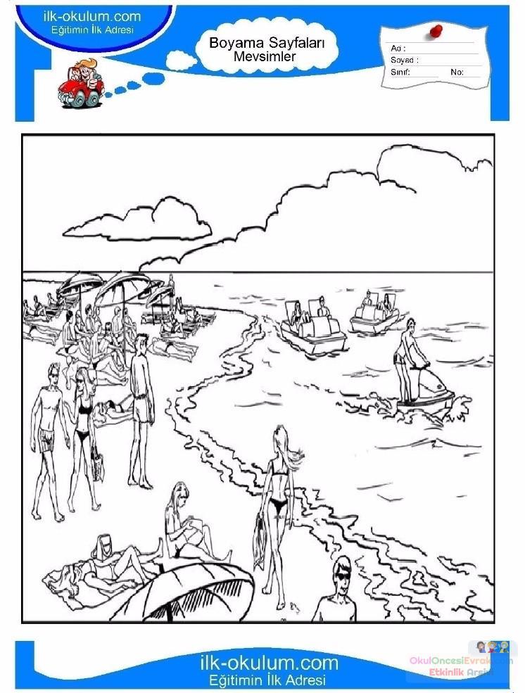 çocuklar Için Mevsimler Yaz Mevsimi Boyama Sayfası 15 Preschool