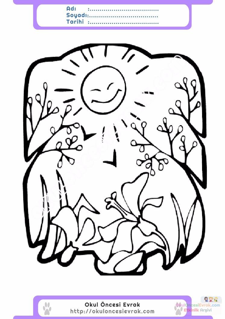 çocuklar Için Mevsimler Yaz Mevsimi Boyama Sayfası 17 Preschool