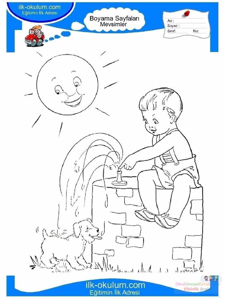 çocuklar Için Mevsimler Yaz Mevsimi Boyama Sayfası 26 Preschool