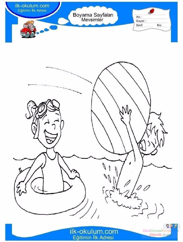 çocuklar Için Mevsimler Yaz Mevsimi Boyama Sayfası 32 Preschool