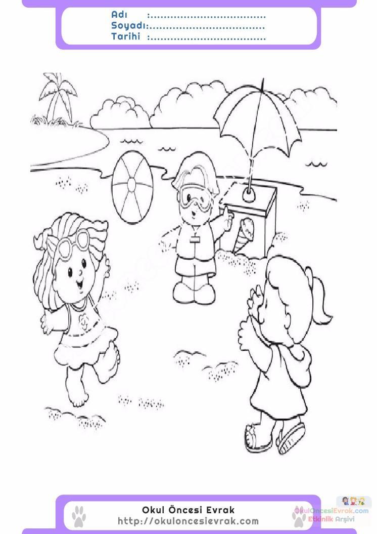 çocuklar Için Mevsimler Yaz Mevsimi Boyama Sayfası 40 Preschool