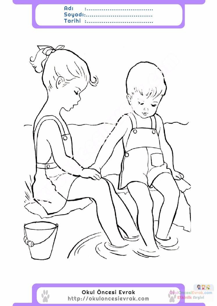 çocuklar Için Mevsimler Yaz Mevsimi Boyama Sayfası 43 Preschool