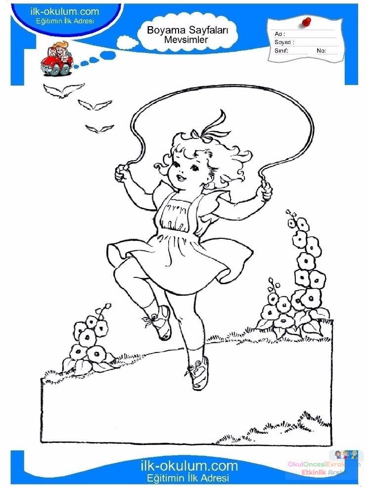 çocuklar Için Mevsimler Yaz Mevsimi Boyama Sayfası 45 Preschool