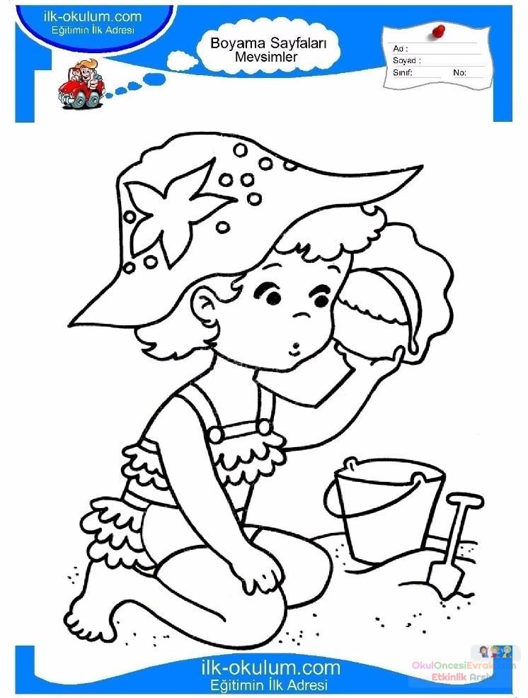 çocuklar Için Mevsimler Yaz Mevsimi Boyama Sayfası 7 Preschool