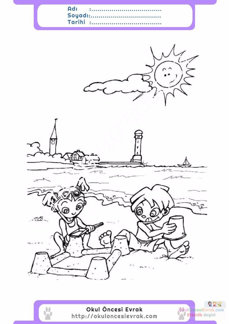 çocuklar Için Mevsimler Yaz Mevsimi Boyama Sayfası 8 Preschool