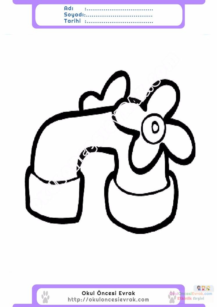 çocuklar Için Musluk Eşyalar Boyama Sayfası 3 Preschool Activity