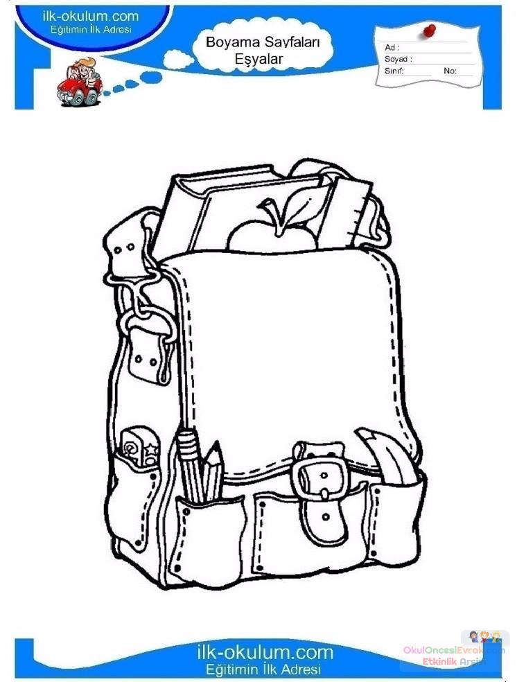 çocuklar Için Okul çantası Eşyalar Boyama Sayfası 1 Preschool Activity