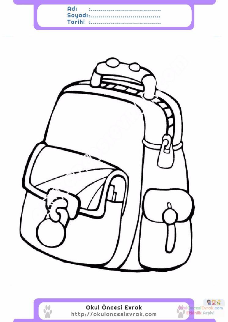 çocuklar Için Okul çantası Eşyalar Boyama Sayfası 13 Preschool