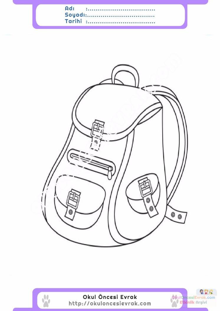 çocuklar Için Okul çantası Eşyalar Boyama Sayfası 15 Preschool