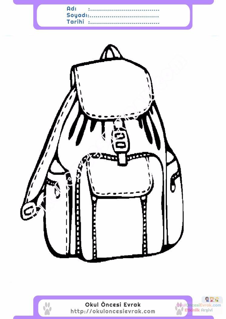 çocuklar Için Okul çantası Eşyalar Boyama Sayfası 2 Preschool Activity