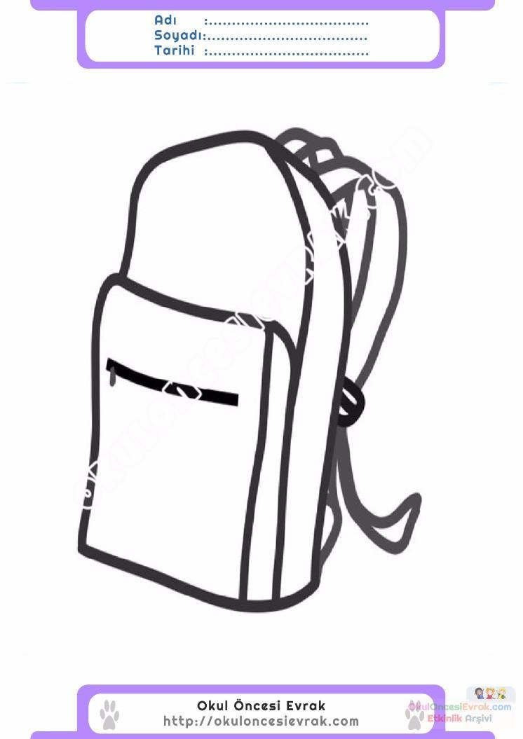 çocuklar Için Okul çantası Eşyalar Boyama Sayfası 6 Preschool Activity