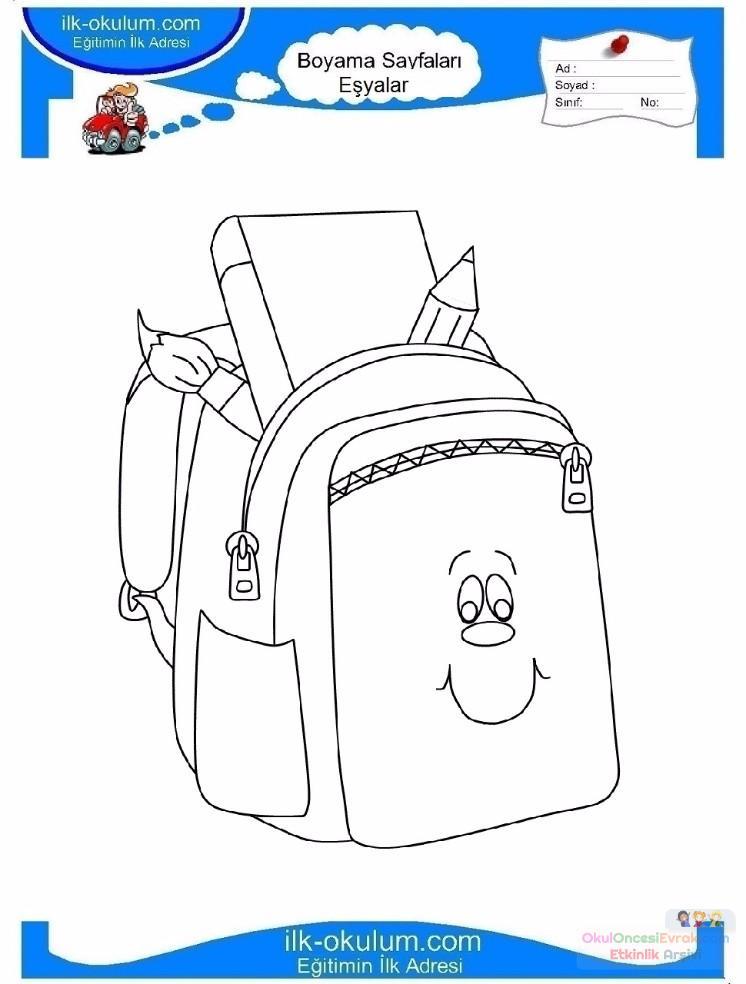 çocuklar Için Okul çantası Eşyalar Boyama Sayfası 7 Preschool Activity