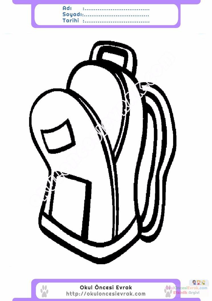 çocuklar Için Okul çantası Eşyalar Boyama Sayfası 9 Preschool Activity
