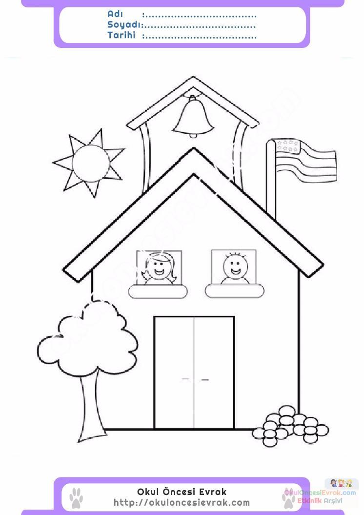 çocuklar Için Okul Yapılar Binalar Boyama Sayfası 7 Preschool Activity