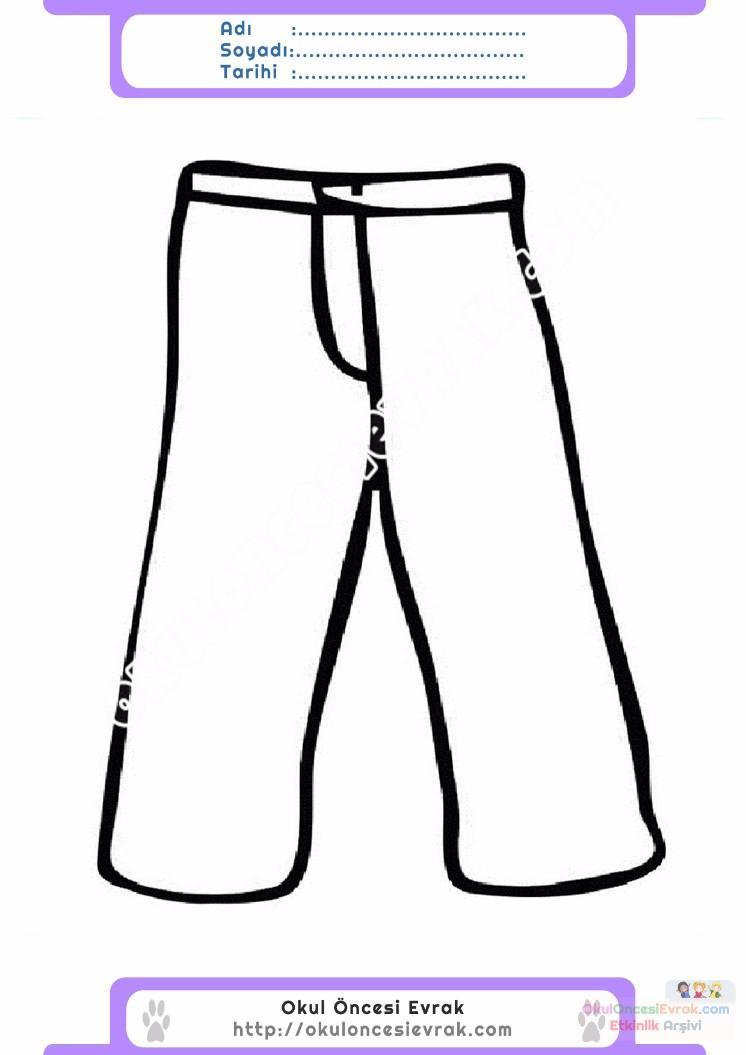 çocuklar Için Pantolon Kıyafet Giysi Boyama Sayfası 10 Preschool