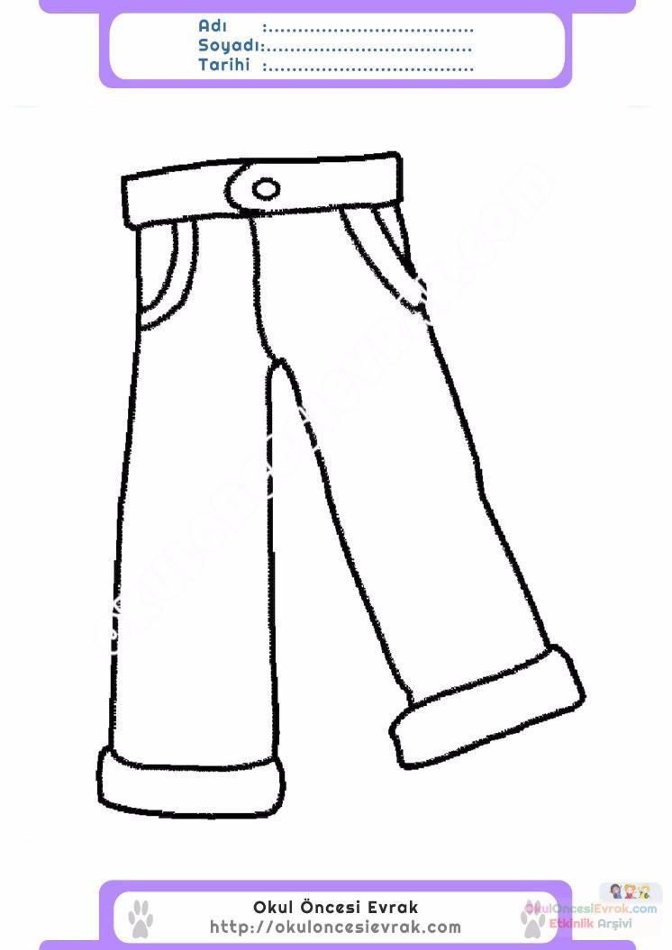 çocuklar Için Pantolon Kıyafet Giysi Boyama Sayfası 18 Preschool