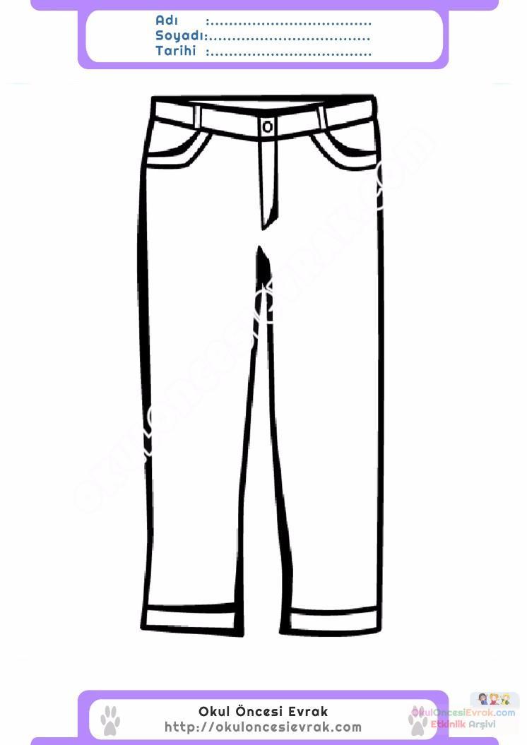 çocuklar Için Pantolon Kıyafet Giysi Boyama Sayfası 19 Preschool