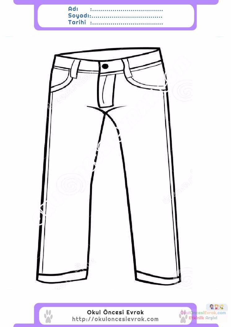 çocuklar Için Pantolon Kıyafet Giysi Boyama Sayfası 2 Preschool