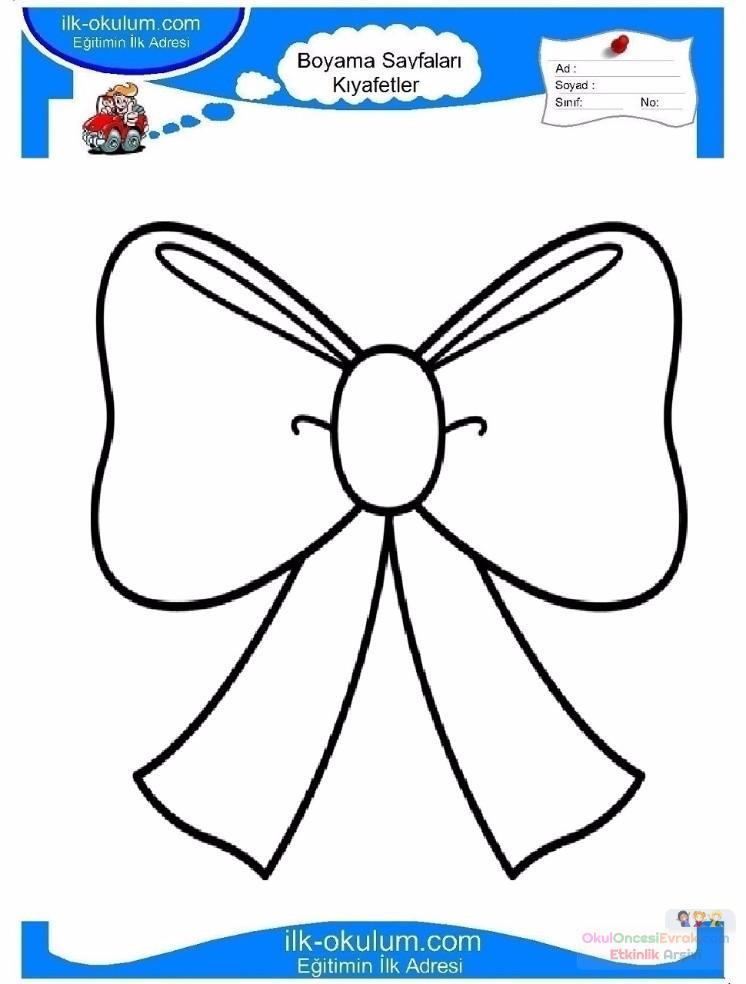 çocuklar Için Papyon Kıyafet Giysi Boyama Sayfası 8 Preschool Activity