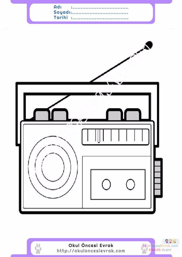 çocuklar Için Radio Eşyalar Boyama Sayfası 10 Preschool Activity
