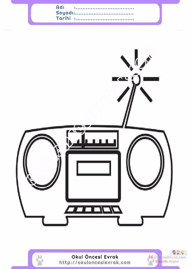 çocuklar Için Radio Eşyalar Boyama Sayfası 4 Preschool Activity