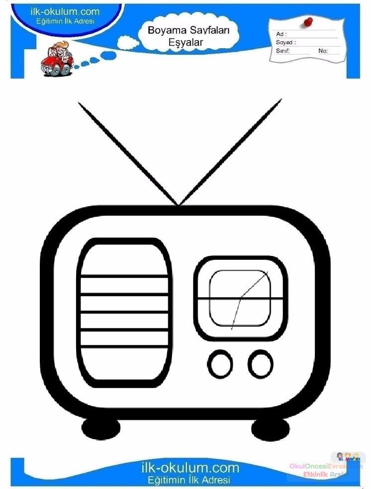 çocuklar Için Radio Eşyalar Boyama Sayfası 7 Preschool Activity