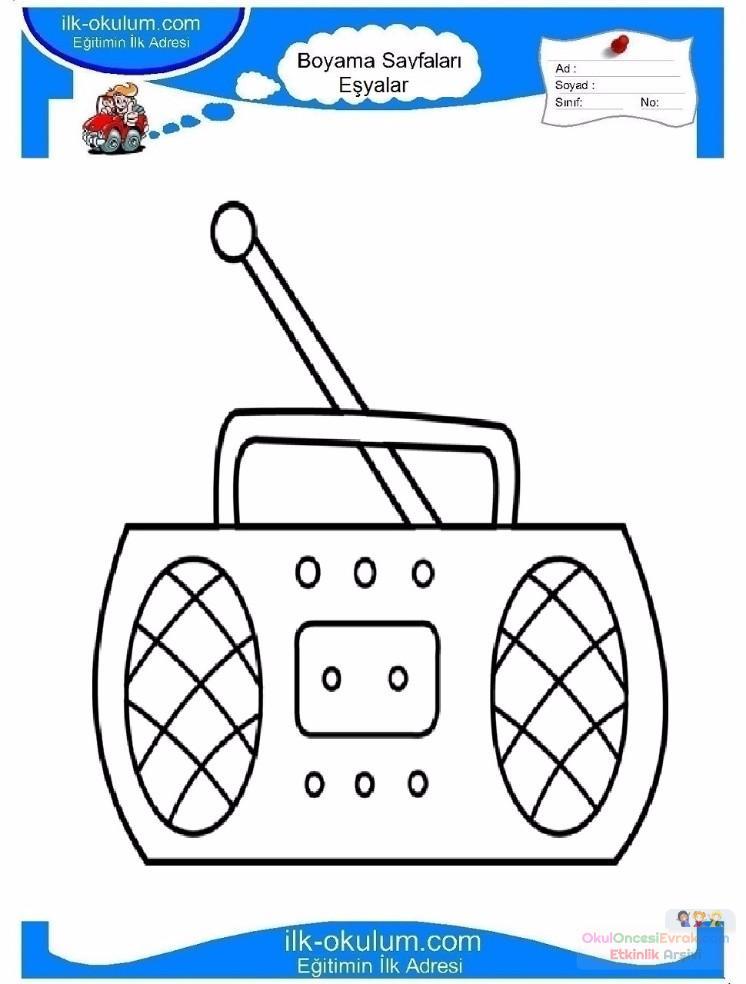 çocuklar Için Radio Eşyalar Boyama Sayfası 8 Preschool Activity