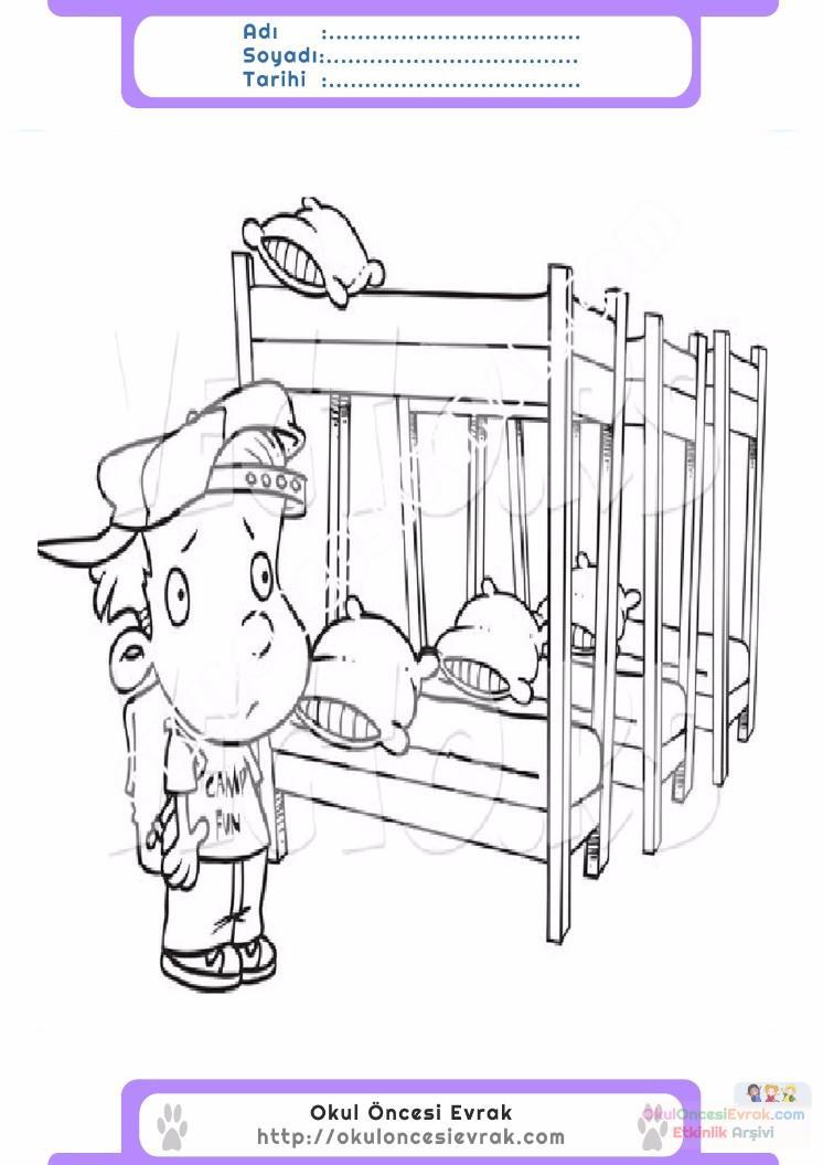 çocuklar Için Ranza Eşyalar Boyama Sayfası 6 Preschool Activity