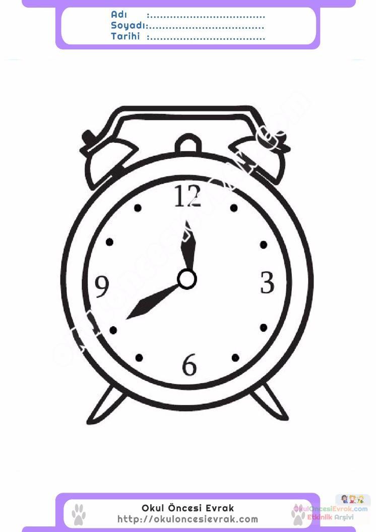 çocuklar Için Saat Eşyalar Boyama Sayfası 10 Preschool Activity