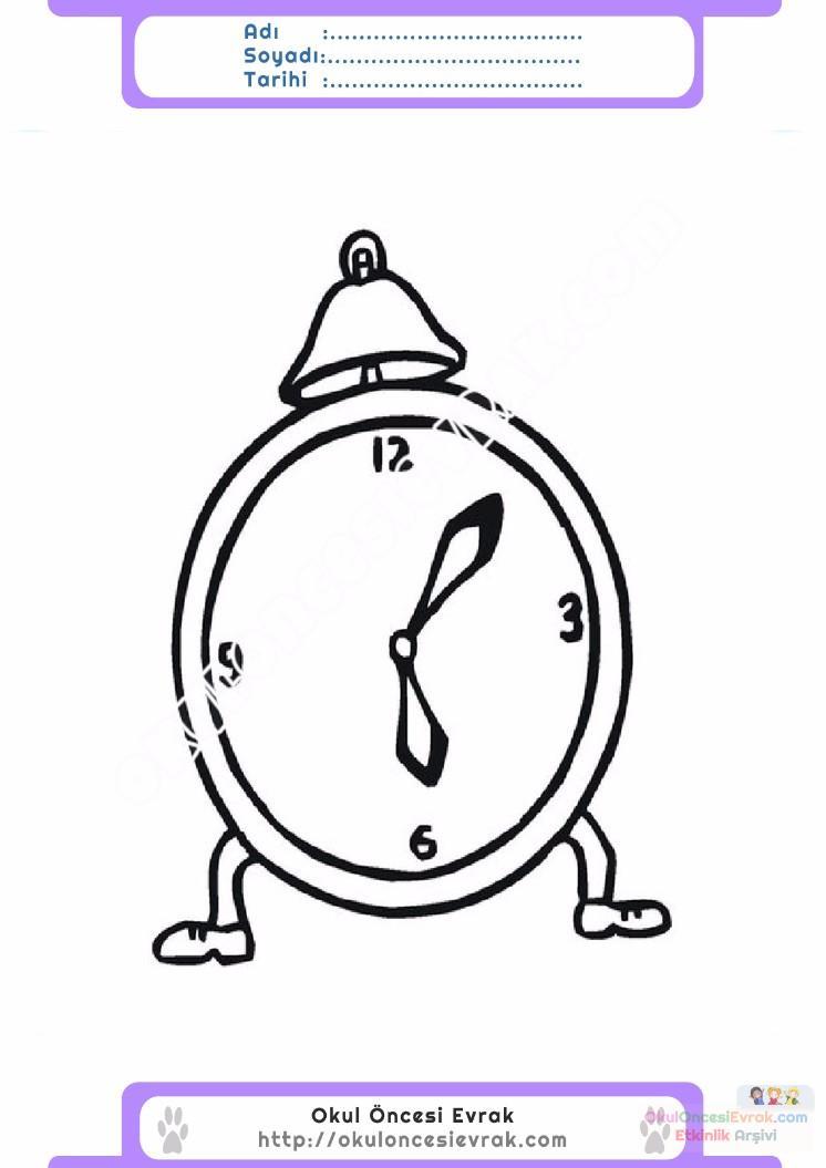 çocuklar Için Saat Eşyalar Boyama Sayfası 11 Preschool Activity