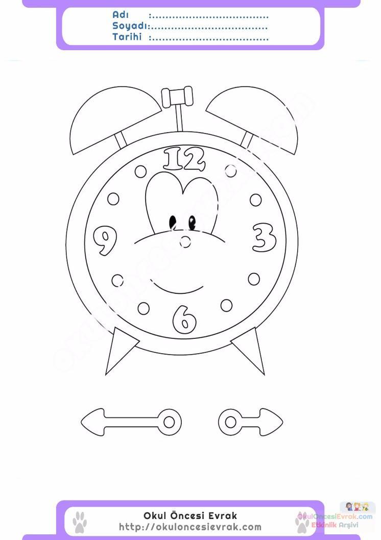 çocuklar Için Saat Eşyalar Boyama Sayfası 13 Preschool Activity
