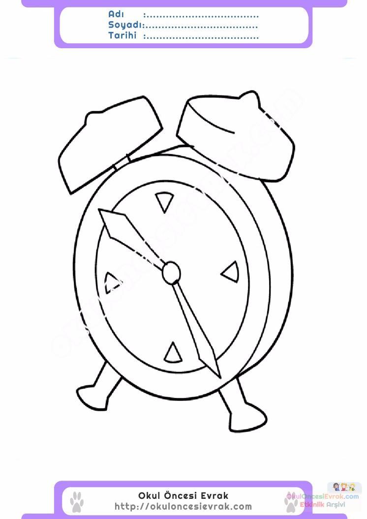 çocuklar Için Saat Eşyalar Boyama Sayfası 14 Preschool Activity