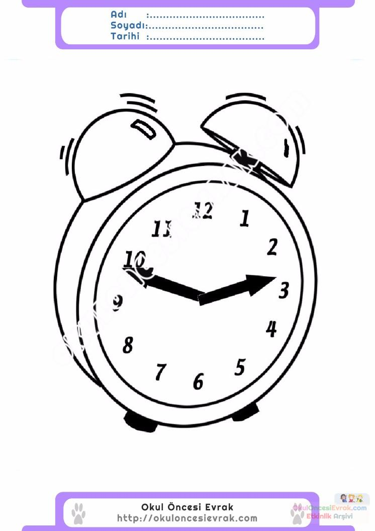 çocuklar Için Saat Eşyalar Boyama Sayfası 2 Preschool Activity