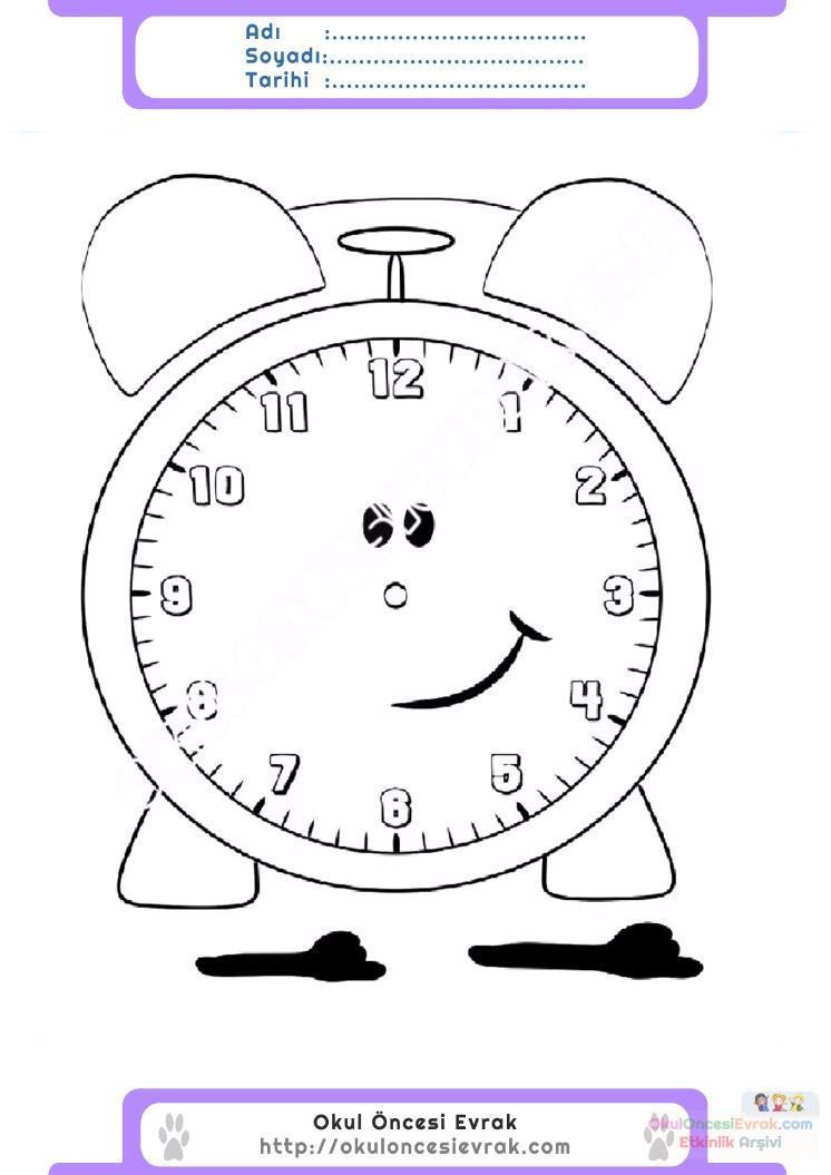 çocuklar Için Saat Eşyalar Boyama Sayfası 25 Preschool Activity