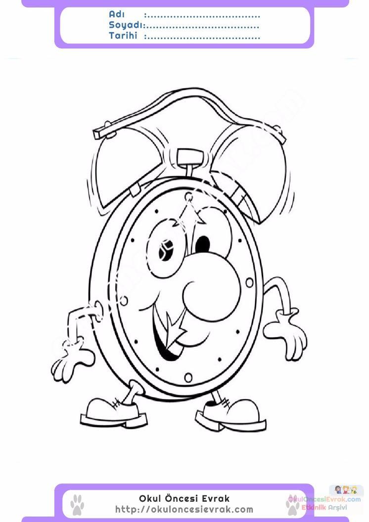 çocuklar Için Saat Eşyalar Boyama Sayfası 3 Preschool Activity