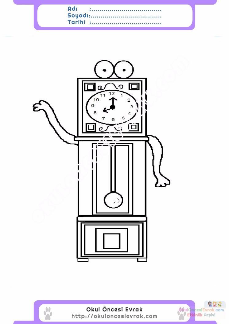 çocuklar Için Saat Eşyalar Boyama Sayfası 7 Preschool Activity