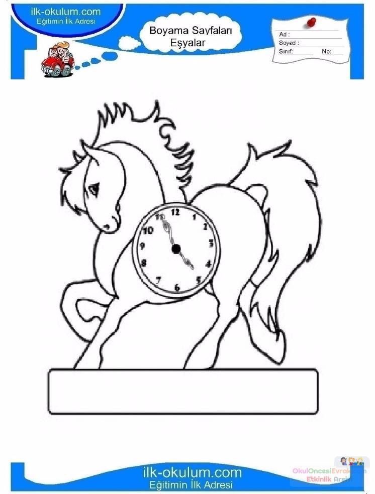 çocuklar Için Saat Eşyalar Boyama Sayfası 9 Preschool Activity