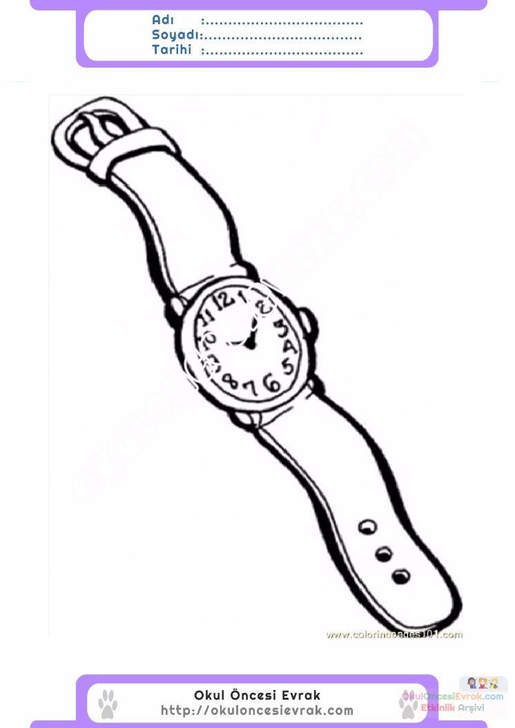 çocuklar Için Saat Kıyafet Giysi Boyama Sayfası 10 Preschool Activity