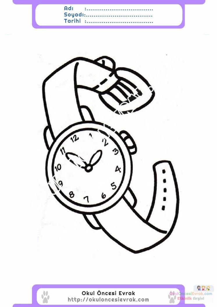 çocuklar Için Saat Kıyafet Giysi Boyama Sayfası 7 Preschool Activity
