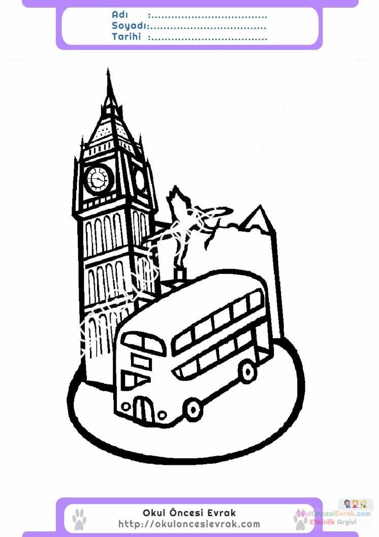 çocuklar Için Saat Kulesi Yapılar Binalar Boyama Sayfası 10 1