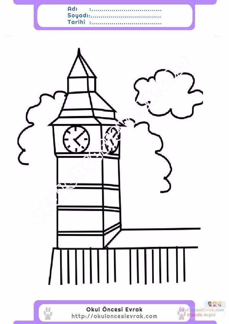 çocuklar Için Saat Kulesi Yapılar Binalar Boyama Sayfası 11