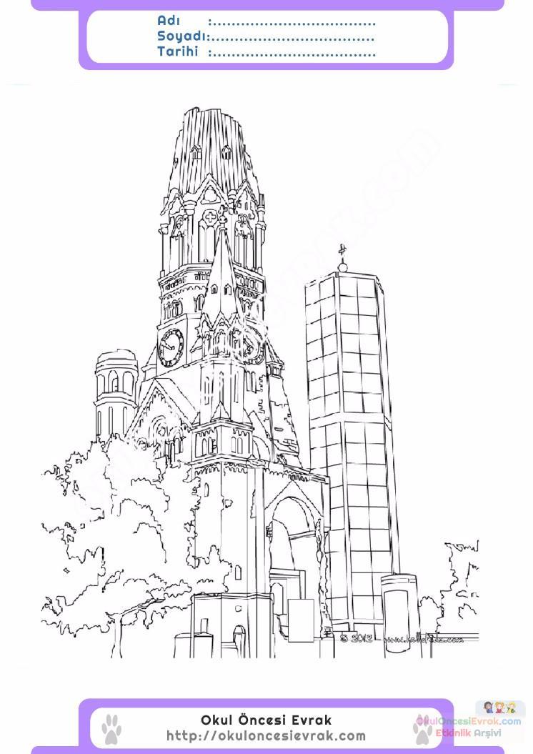çocuklar Için Saat Kulesi Yapılar Binalar Boyama Sayfası 12