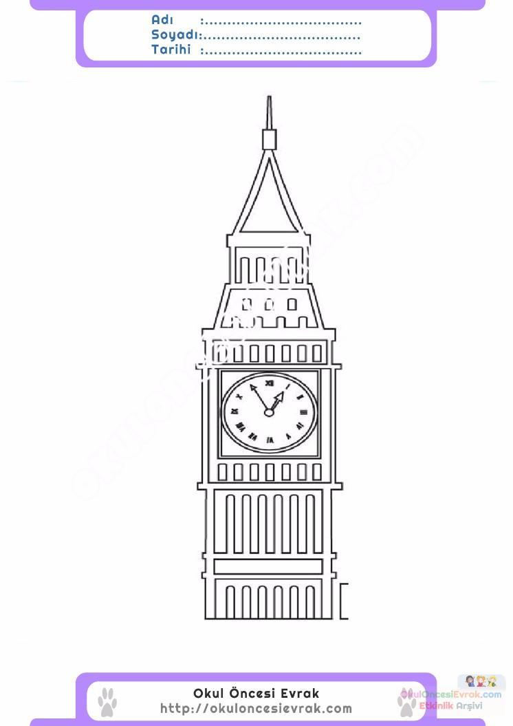 çocuklar Için Saat Kulesi Yapılar Binalar Boyama Sayfası 13