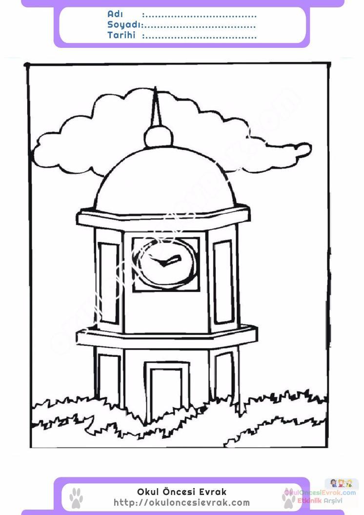 çocuklar Için Saat Kulesi Yapılar Binalar Boyama Sayfası 2