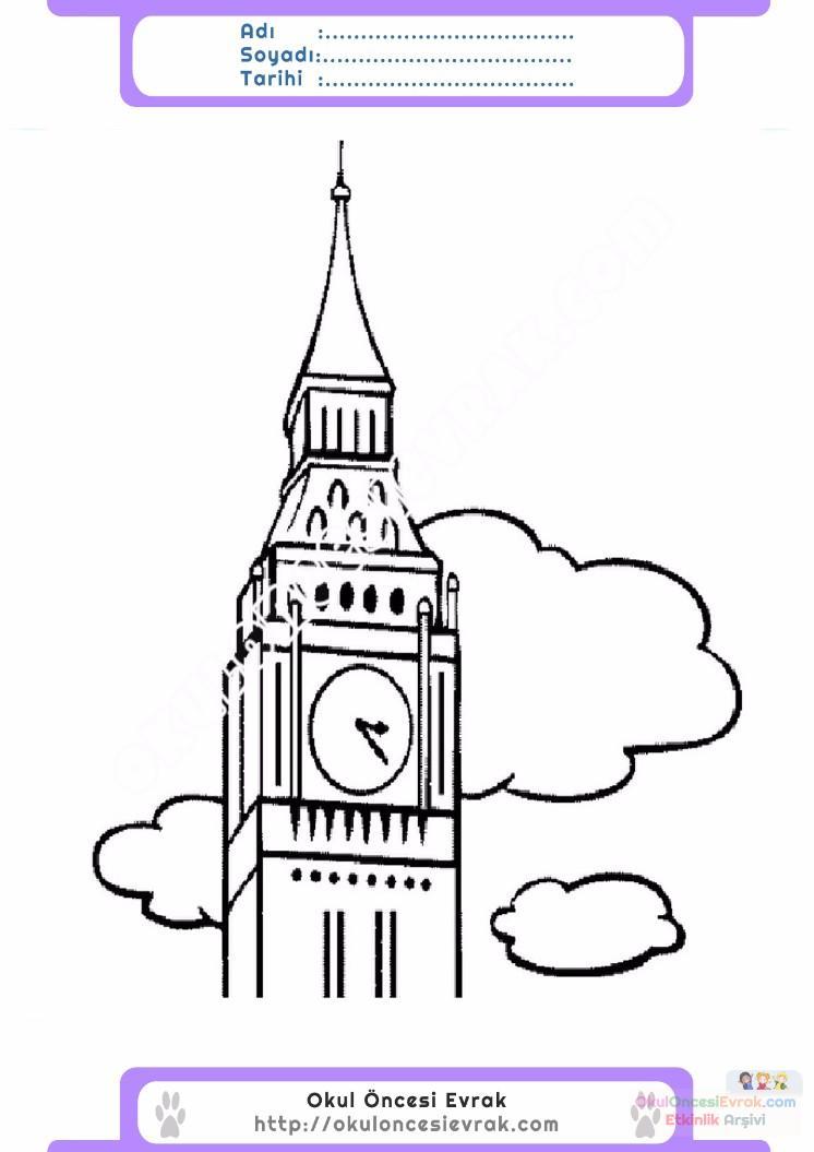 Cocuklar Icin Saat Kulesi Yapilar Binalar Boyama Sayfasi 4